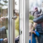 Strips on door with family